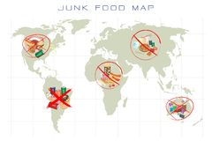 World Map with Fast Food and Take Away Food Royalty Free Stock Images