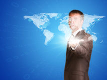 World map and figures Stock Photography