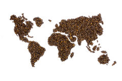 World map filled with coffee beans. Isolated on white background stock image