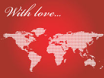 World map filled with hearts. On red Stock Photos