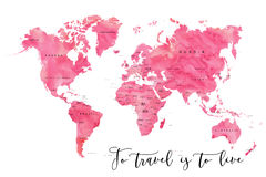 World map filled with pink watercolour effect Stock Image