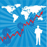World map with financial chart. An illustration of world map with increasing financial chart Royalty Free Stock Photos