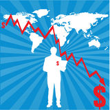 World map with financial chart. An illustration of world map with decreasing financial chart Royalty Free Stock Photo