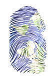 World Map finger print Royalty Free Stock Photography