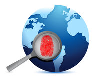 World Map and fingerprint under a magnify glass Royalty Free Stock Photos