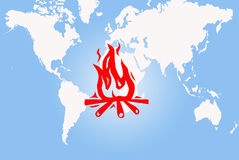 World map on fire. Map of the world on fire and burning Royalty Free Stock Photography