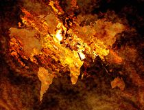 World map on fire. Map of the world on fire and burning Stock Image
