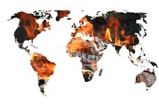 The World Map on Fire Royalty Free Stock Images