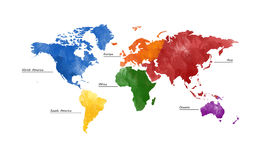 World map,five continents. Colourful five continents world map illustration with white background Royalty Free Stock Photography
