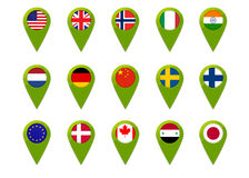 World map flag pins. Map pins  with world flags Stock Image