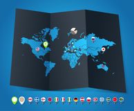 World map and flags Royalty Free Stock Image