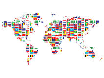 World map with flags. Isolated on white background Stock Illustration