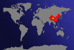 World Map with Flags. World Map With Flag - China royalty free illustration