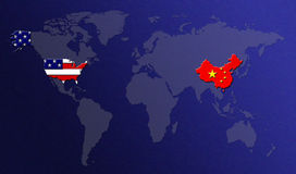 World Map with Flags. US and China stock illustration