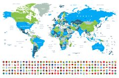 World Map and Flags - borders, countries and cities -illustration stock photos
