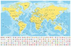 World Map and Flags - borders, countries and cities -illustration stock images