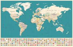World Map and Flags - borders, countries and cities - vintage illustration royalty free stock images
