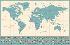 World Map and Flags - borders, countries and cities - vintage illustration royalty free stock photo
