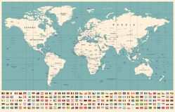 World Map and Flags - borders, countries and cities - vintage illustration stock photography
