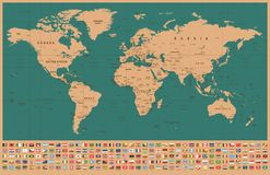 World Map and Flags - borders, countries and cities - vintage illustration royalty free stock photography