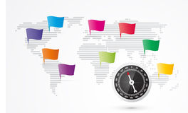 World map with flags Stock Photography