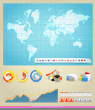 World map, flags of different countries and diagra Stock Image