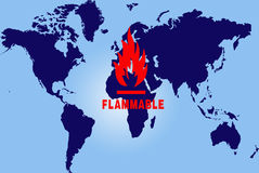 World map flammable Royalty Free Stock Photography