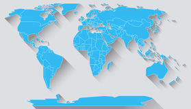 World map flat design. World map in basic shapes of all continents in flat design Royalty Free Stock Photos