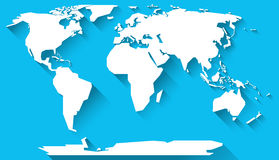 World map flat design. World map in basic shapes of all continents in flat design Royalty Free Stock Photography