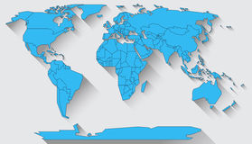 World map flat design. World map in basic shapes of all continents in flat design Royalty Free Stock Image