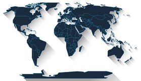 World map flat design. World map in basic shapes of all continents in flat design Stock Photos