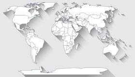 World map flat design. World map in basic shapes of all continents in flat design Stock Photography