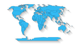 World map flat design. Blue colored continents with state borders on the white background with flat shadow Stock Photo
