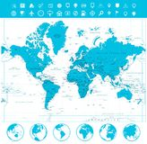 World map and flat globes with labeling. Vector illustration Royalty Free Stock Photo