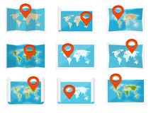 World map in a flat style. Earth, globe. Navigation. Route and destination. Icon. Stock Photos