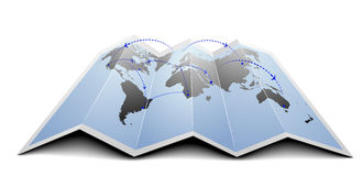 World map flight routes Stock Photo