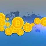 World map with floating bitcoins symbols Stock Photos