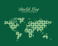 World map floral pattern with diamond forms on green background. Vector illustration Vector Illustration