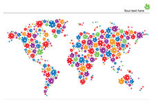 World map with flowers Stock Photography