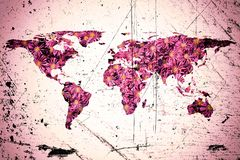 World map and flowers. Isolated flat world map and flowers. NASA flat world map image is used to furnish this image royalty free stock photography