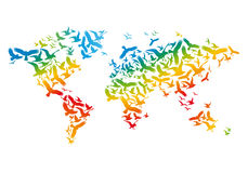 World map with flying birds, vector. World map with colorful flying birds, vector illustration royalty free illustration