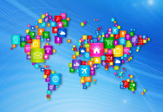 World Map Flying Desktop Icons collection Stock Photography