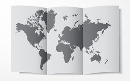 World map on a folded sheet of paper Stock Photos