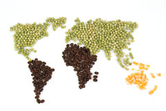 World map with food Stock Photo