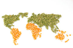 World map with food Stock Photography