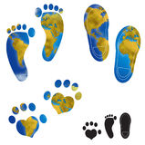 World map footprints illustrations. World planisphere in different footprints of man and animal, digital illustration Royalty Free Stock Photo