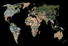 World map - Forest, green camouflage pattern. Political camouflage map of the world Stock Images
