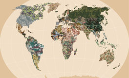 World map - Forest, green camouflage pattern. Political camouflage map of the world Royalty Free Stock Photo