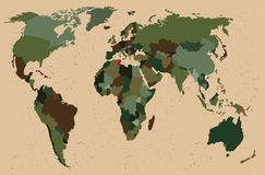 World map - Forest, green camouflage pattern Royalty Free Stock Images
