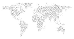 World map in form intersecting lines. On a white background Stock Photography